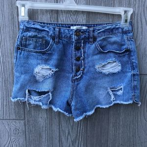 Forever 21 Distressed Denim High Waisted Shorts
